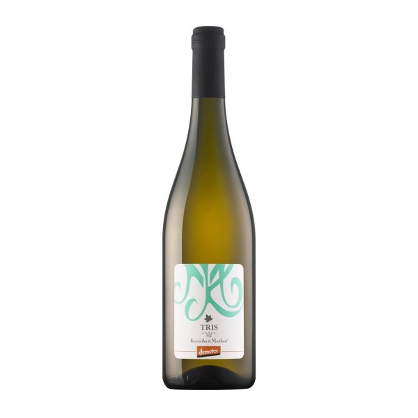 Vino Tris, belo vino, letnik 2018. Sveže vino. Kombinacija treh vin.