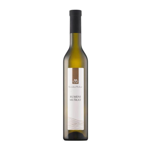 Rumeni Muškat, belo vino je globlje zlatorumene barve indokaj viskozno. Zelo okusen in zelo dober sladki rumeni muškat.