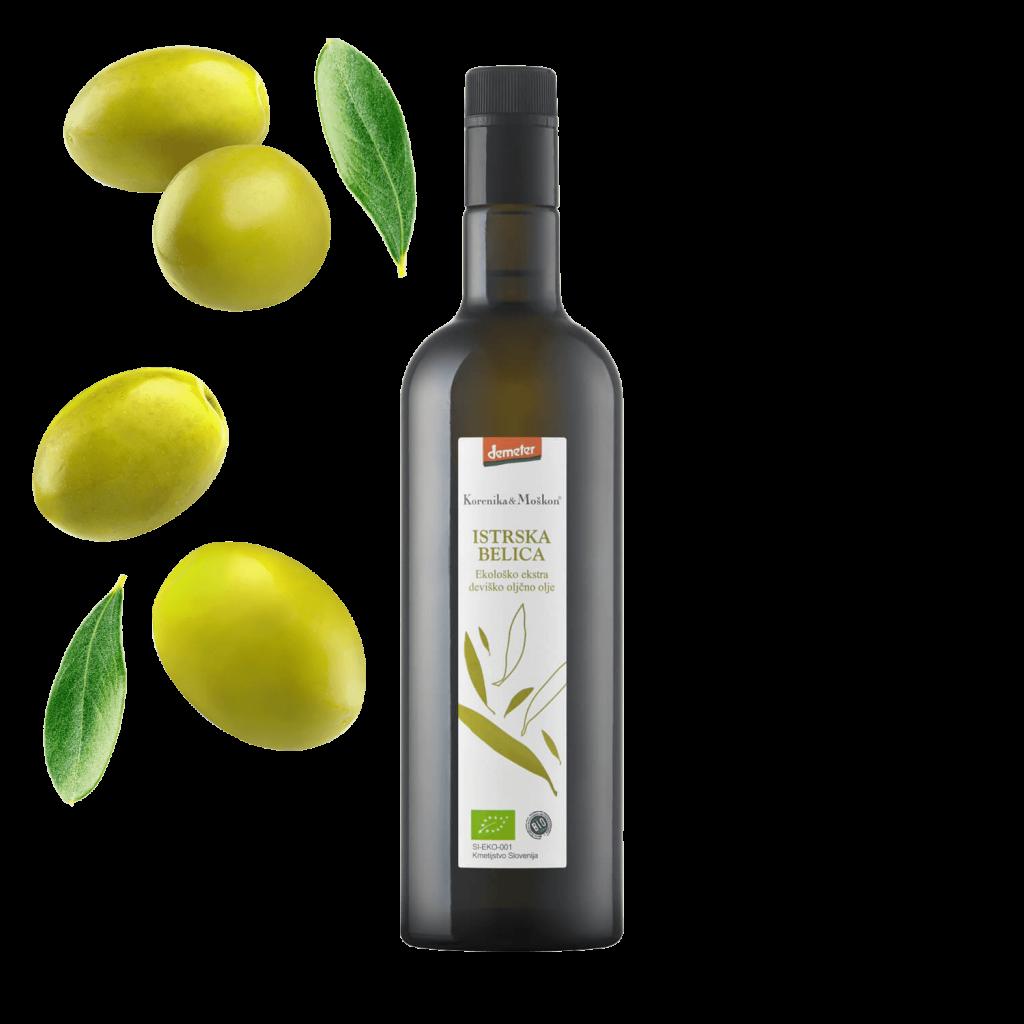 Korenika & Moškon - vinarstvo. Oljčno olje, olivno olje. Istrska Belica.
